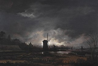 Moonlit Landscape with a Windmill