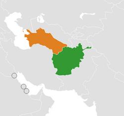 Карта с указанием места Афганистана и Туркменистана