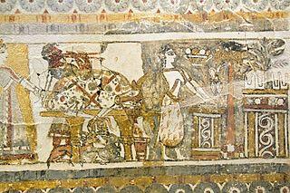 Hagia Triada sarcophagus detail with double flute