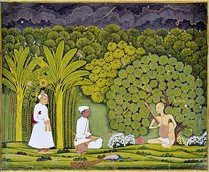 Tansen - Akbar watching as Tansen receives a lesson from Swami Haridas. Imaginary situation depicted in Mughal miniature painting (Rajasthani style, c. 1750 AD).