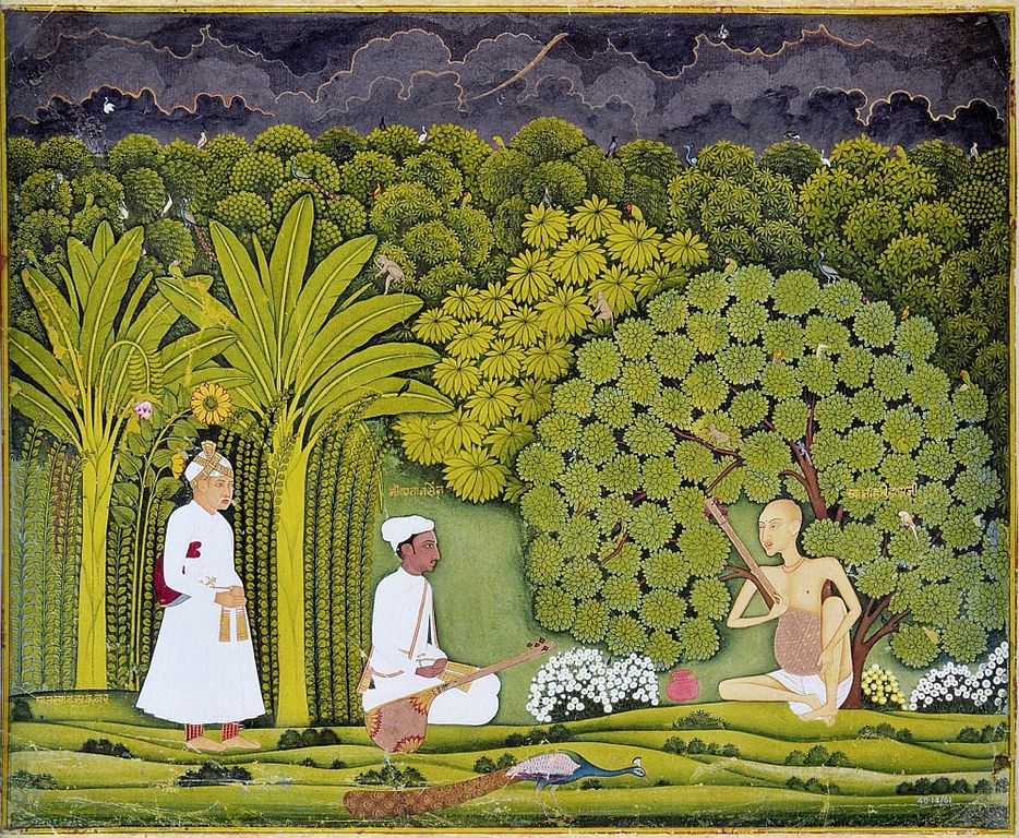A Rajasthani miniature painting of Akbar and Tansen visiting Swami Haridas in Vrindavan. Image credit: Wikimedia Commons [Public Domain].