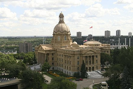 Edmonton is home to the Alberta Legislature Building, the meeting place for the Legislative Assembly of Alberta. AlbertaLegislature.jpg