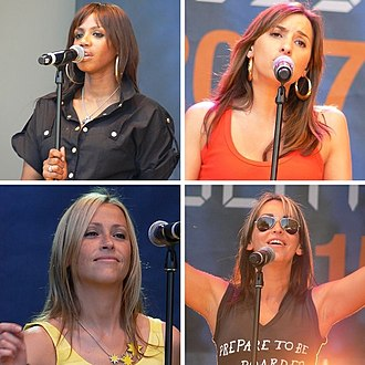 All Saints (group) - All Saints performing in 2007. Clockwise from top left: Shaznay Lewis, Melanie Blatt, Nicole and Natalie Appleton.