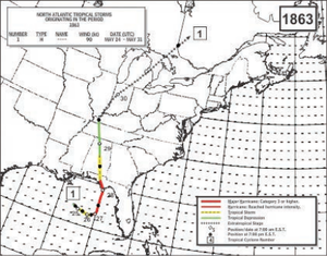 "1863 Atlantic hurricane season - Proposed path of Hurricane ""Amanda"""