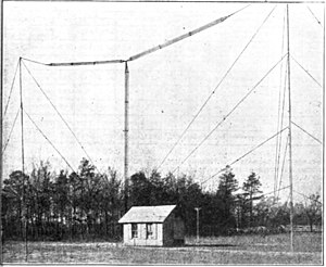 T-antenna - Cage T antenna of amateur station in 1922.  60 ft high by 90 ft long.  The conductor is made of a cage of 6 wires held apart by  wooden spreaders; this construction increased capacitance and decreased resistance.  It achieved transatlantic contacts on 1.5 MHz at a power of 440 W.