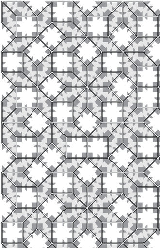Ammann–Beenker tiling - A portion of tiling by Ammann's aperiodic A5 set of tiles, decorated with finite, local matching rules which force infinite, global structure, that of Amman-Beenker tiling.