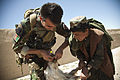 An Afghan National Army special operations forces medic, left, takes time away from assisting with the construction of an Afghan Local Police (ALP) checkpoint to give a sheep medicine in Helmand province 130330-M-BO337-107.jpg