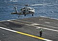 An MH-60S lands aboard USS Nimitz at sea. (8637770684).jpg