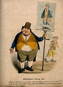 An obese man exhibiting a placard of himself looking extreme Wellcome V0011129.jpg