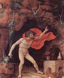 La fucina di Efesto (particolare dal Parnaso di Andrea Mantegna), signore della lavorazione dei metalli, letta dalla mitologia in chiave magica come capacità di manipolare lo spirito in essi contenuto.[2]