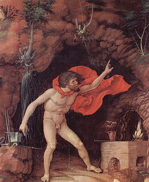 Vulcan (mythology) - Andrea Mantegna: Parnas, Vulcan, god of fire