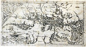Solen glimmar blank och trind - Andreas Bureus's 1614 map of Lake Mälaren. Stockholm and its archipelago are on the right.