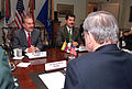 Andres Pastrana, Luis Fernando Ramírez and Donald Rumsfeld, 2001.jpg