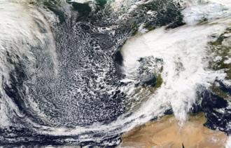 2016–17 UK and Ireland windstorm season - MODIS image of Angus on 21 November 2016