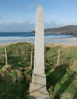 Vatersay - Monument to the wreck of the Annie Jane, overlooking the West Bay
