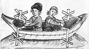 Crankshaft - 15th century paddle-wheel boat whose paddles are turned by single-throw crankshafts (Anonymous of the Hussite Wars)