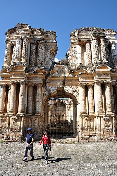Facade of the former El Carmen church in 2009 Antigua guatemala ruins 2009.JPG