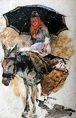 Woman riding a donkey