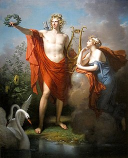 Apollo, God of Light, Eloquence, Poetry and the Fine Arts with Urania, Muse of Astronomy - Charles Meynier
