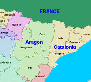 Map Of Spain Showing Catalonia.Aragon Travel Guide At Wikivoyage