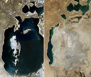 Аральське море в 1989 році зліва і 2014