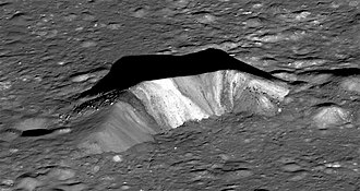 Aristarchus (crater) - LRO NAC image of the central peak, with colors showing variations in the composition