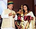 Arjun Ram Meghwal lighting the lamp at the Certificate Distribution and Valedictory Ceremony of IICA Certificate Programme (ICP) in Corporate Social Responsibility (CSR), at Gurugram, Haryana.jpg