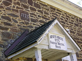 Arney's Mount Friends Meetinghouse and Burial Ground - Sign above the front entrance of Arney's Mount Friends Meetinghouse.