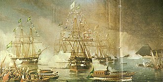 Consolidation of Pedro II of Brazil - Arrival of Empress Teresa Cristina on board the frigate Constituição in Brazil, 1843.