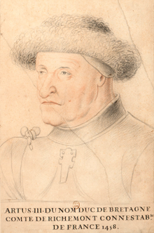 Arthur III, duc de Bretagne, comte de Richemont, connétable de France (1458). Dessin aquarellé, Paris, BnF, collection Gaignières.