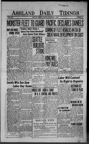 Ashland Daily Tidings - Front page of the newspaper on September 2, 1919