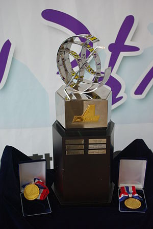 Asia League Ice Hockey - The Championship Trophy and gold medals given to the winning team