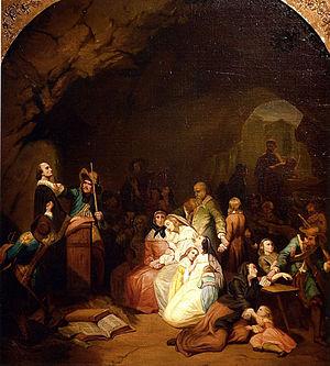 Karl Girardet - Karl Girardet, Assemblée de Protestants surprise par des troupes catholiques (1842)