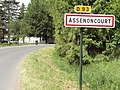 Assenoncourt (Moselle) city limit sign.jpg