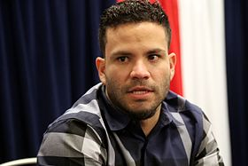 Astros second baseman Jose Altuve talks to reporters at 2016 All-Star Game availability. (28215681590).jpg