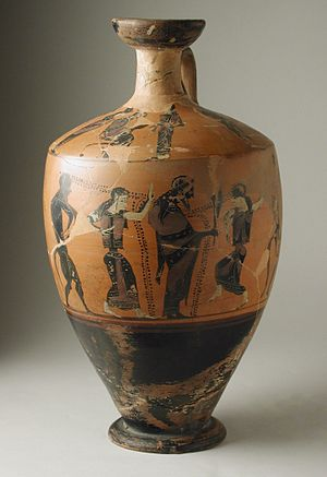 Apollonian and Dionysian - Attic Black-Figure Lekythos with (Body) Dionysos between Maenads and Sileni and (Shoulder) a Seated Man between Women and Men