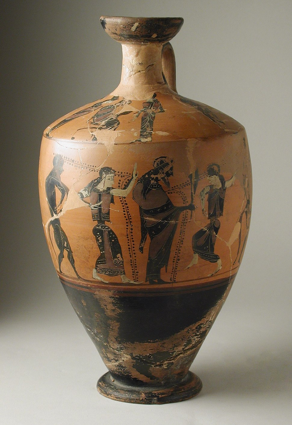 Attic Black-Figure Lekythos with (Body) Dionysos between Maenads and Satyrs and (Shoulder) a Seated Man between Women and Men LACMA 50.9.43