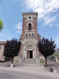 Aulnoy-lez-Valenciennes (Nord, Fr) église, façade.JPG