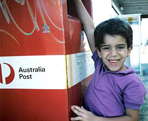 Mail sack - Australia post red pick-up box