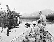 Australian sailors inspecting wrecked ships at Yokosuka September 1945