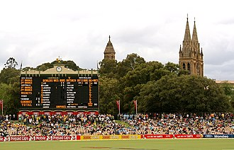 New Zealand cricket team in Australia in 2008–09 - The scoreboard near the start of Day 1 of the second Test.