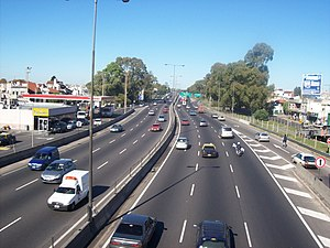 Liniers - View of General Paz Freeway and Liniers (left).