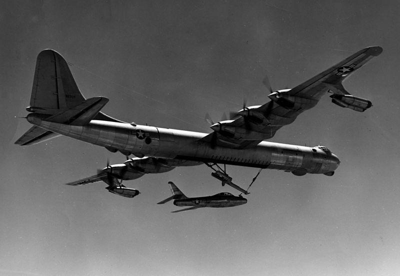 File:B-36 F-84F FICON launch.jpg