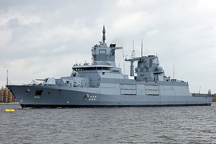 Baden-Wurttemberg, an F125-class frigate of the German Navy; currently the biggest frigates worldwide. In size and role they are qualified as destroyers BADEN-WURTTEMBERG 00257 (cropped).jpg