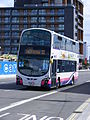 BD11 CFN First Anglia (Norwich) Volvo - Wrights 36168. BD11 CFN Excel Arena - Canning Town shuttle, service 21. 2012 Olympic games (7706140718).jpg