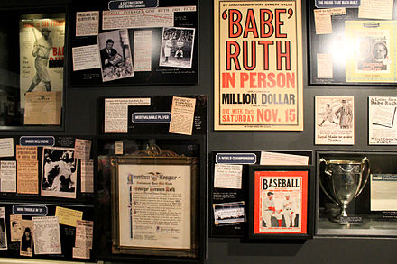 Ruth memorabilia at the Baseball Hall of Fame (2014) Babe Ruth Hall of Fame exhibit 2014.jpg
