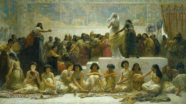 The Babylonian marriage market by the 19th-century painter Edwin Long Babylonian marriage market.jpg