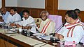 Bandaru Dattatreya addressing the media after a review meeting on Farmers' issues, in Hyderabad on April 08,2017. The Telangana State Agriculture Minister, Shri Pocharam Srinivas Reddy and the Panchayat Raj Minister.jpg