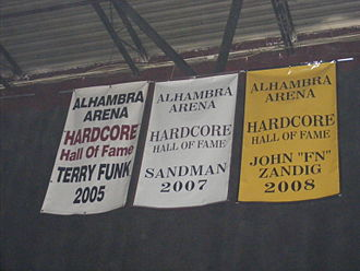 Terry Funk - Funk's Hardcore Hall of Fame banner in the former ECW Arena.
