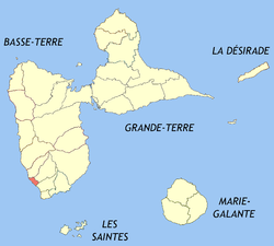 Location o the commune (in reid) within Guadeloupe